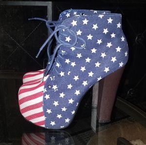 Platform lace-up ankle boots. NWOT